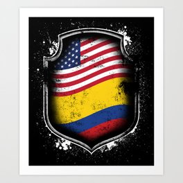 Colombian American Flag Art Print