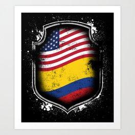 Colombian American Flag Art Print