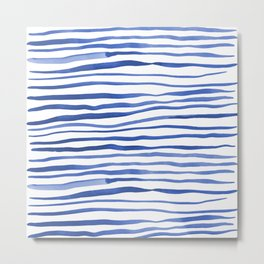 Irregular watercolor lines - blue Metal Print