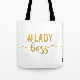 Lady Boss gold glitter Tote Bag