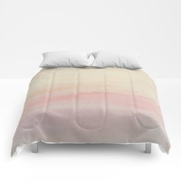 Ombre Blush Pink Watercolor Hand-Painted Effect Comforters