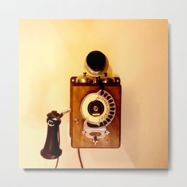 ANTIQUE WALL TELEPHONE Metal Print