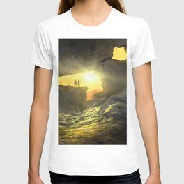 Compelling Fantasy World Cave Lonely Tree Two Humans Silhouette Ultra HD T-shirt