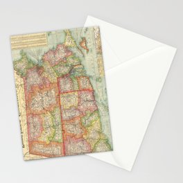 Vintage Map of New England States (1900) Stationery Cards