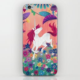 Floral Frolic Unicorn iPhone Skin