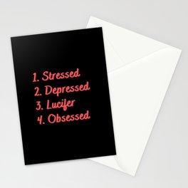 Stressed. Depressed. Lucifer. Obsessed. Stationery Cards