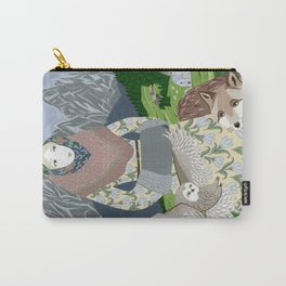 Lady with an owl and a dog Carry-All Pouch
