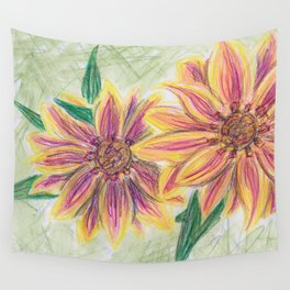 Funky Flowers Wall Tapestry