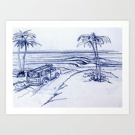 surf woody Art Print