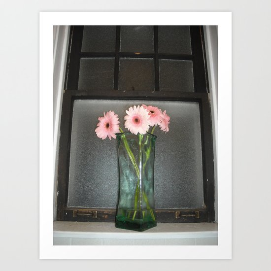 pink daisies ~ flowers on vintage sill Art Print