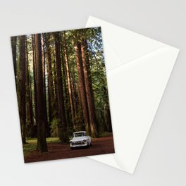 Classic White Truck in the Navarro Redwoods State Park in California, California Photography, Woodland Art, Magical Unique Print Stationery Cards