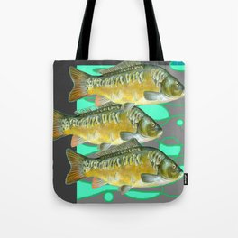 SCHOOL OF GREENISH-YELLOW FISH  IN GREY ART Tote Bag