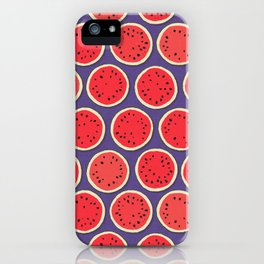 watermelon polka purple iPhone Case