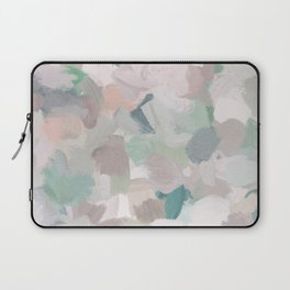 Mint Seafoam Green Dusty Rose Blush Pink Abstract Nature Flower Wall Art, Spring Painting Print Laptop Sleeve