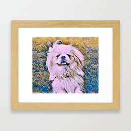 pekingese at the park Framed Art Print