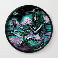 mythology Wall Clocks featuring Mermaid Siren Pearl of atlantis mythology by Scott Jackson Monsterman Graphic