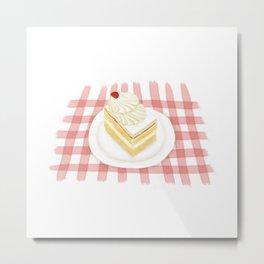 Watercolor Illustration of Dessert - Fresh MilK Small Cube Cake | 鲜奶小方 Metal Print