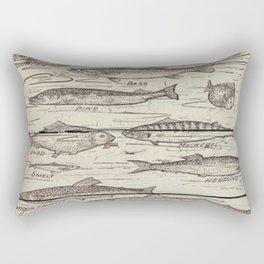father's day fisherman gifts whitewashed wood lakehouse freshwater fish Rectangular Pillow