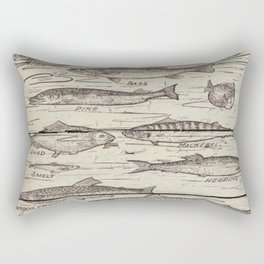 father's day fisherman gifts whitewashed wood lakehouse freshwater fish Rectangular Pillow