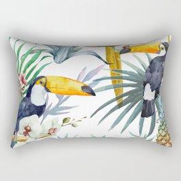 Big Tropical Pattern Toucans Parrot Pineapples Rectangular Pillow