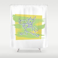 runner Shower Curtains featuring Blurry Runner by Jeff Ross