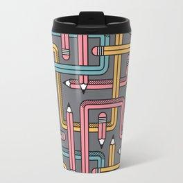 Pencil Maze Pattern pastel grey multi Travel Mug