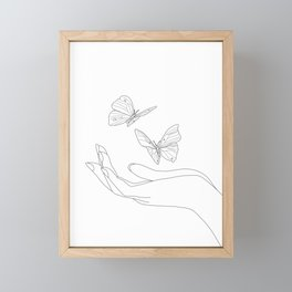 Butterflies on the Palm of the Hand Framed Mini Art Print