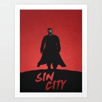 sin city Art Prints featuring Sin City by Nick Kemp