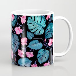 Modern neon pink blue green tropical floral illustration Coffee Mug