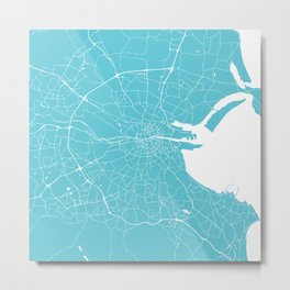 Dublin Street Map Turquoise and White Metal Print