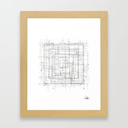 Colorful abstract geometric pattern with color dots Framed Art Print