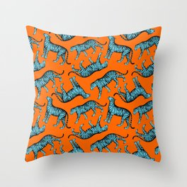 Tigers (Orange and Blue) Throw Pillow
