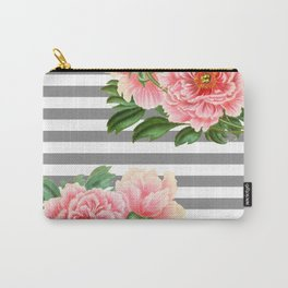 Pink Peonies Grey Stripes Chic Carry-All Pouch