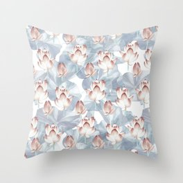 Lotus Flowers in Pink and Grey Throw Pillow
