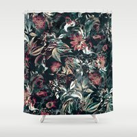 garden Shower Curtains featuring Space Garden by RIZA PEKER