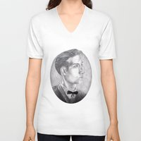 alex turner V-neck T-shirts featuring Alex Turner Drawing by annelise johnson