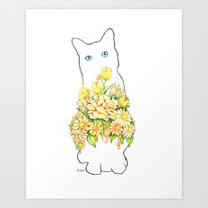 Tall White Cat Art Print