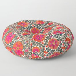 Kermina Suzani Uzbekistan Colorful Embroidery Print Floor Pillow