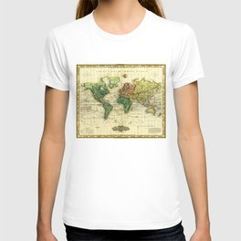 Vintage Map of The World (1823) - Stylized T-shirt