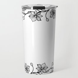 Black and White Floral Wreath Lineart Travel Mug