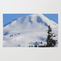 skiing Area & Throw Rugs featuring Back-Country Skiing  - III by Alaskan Momma Bear