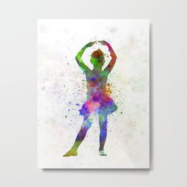 Little girl ballerina ballet dancer dancing Metal Print