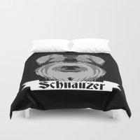 schnauzer Duvet Covers featuring Schnauzer by mailboxdisco