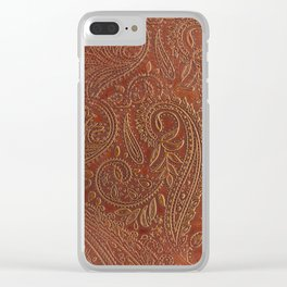 Rusty Tooled Leather Clear iPhone Case