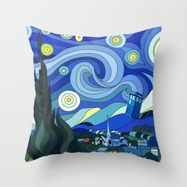 Tardis Art Starry Night Throw Pillow