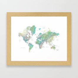 Watercolor world map in muted green and brown Framed Art Print
