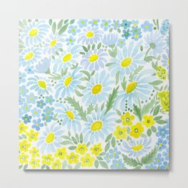 Watercolor . Chamomile field. 1 Metal Print