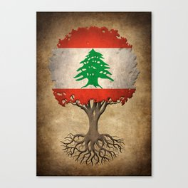 Vintage Tree of Life with Flag of Lebanon Canvas Print