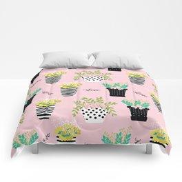 Cute flower pots illustration pattern. Comforters