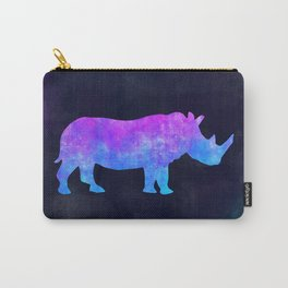 RHINO IN SPACE // Animal Graphic Art // Watercolor Canvas Painting // Modern Minimal Cute Carry-All Pouch
